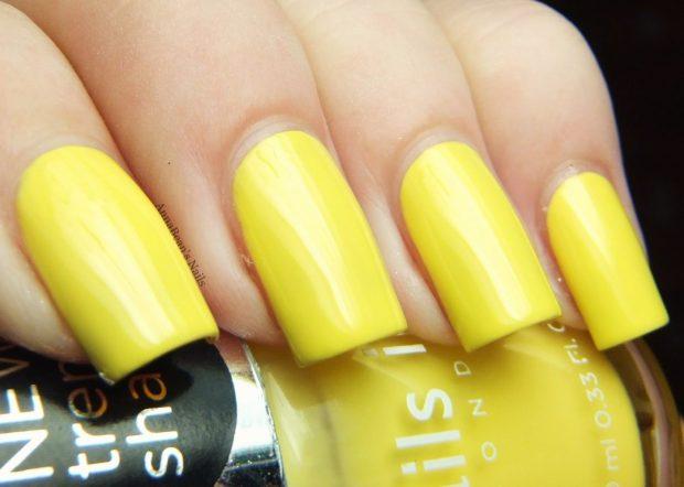 яркие желтые ногти 2018 лето
