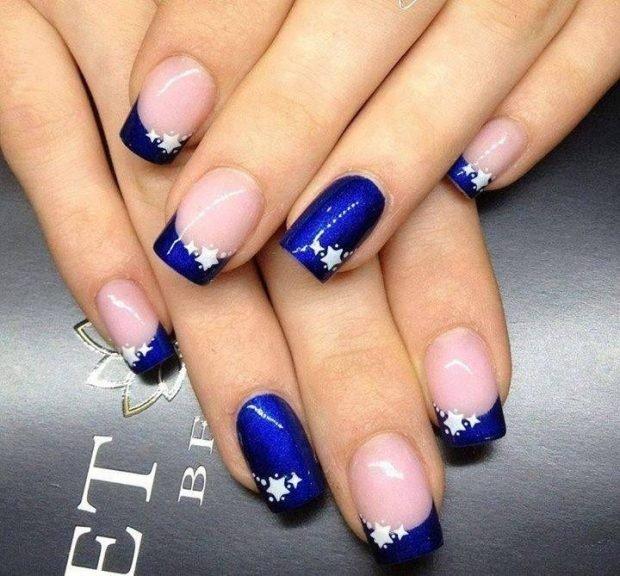 французский маникюр синий со звездами