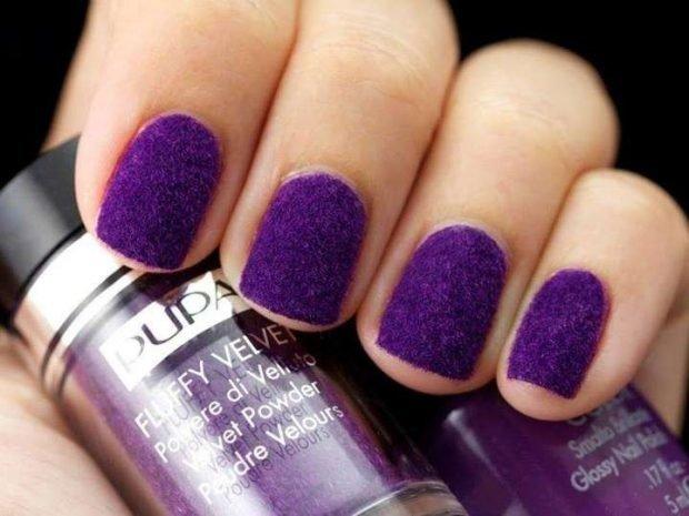 матовый маникюр фиолетовый