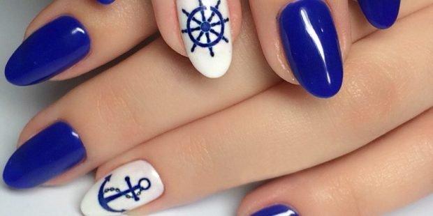 морской маникюр синий с белым зимний 2018