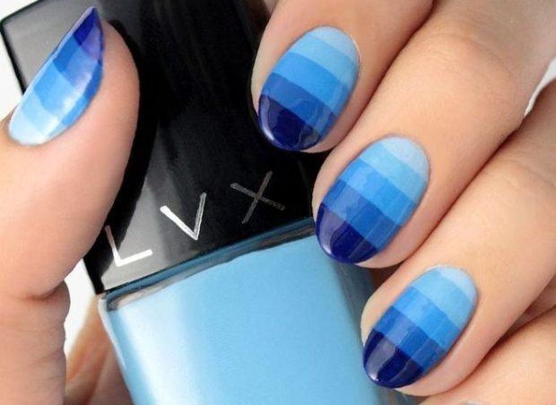 морской синий в полоску зимний