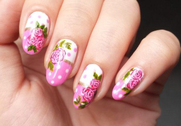 цветочный весенний маникюр 2018 розы
