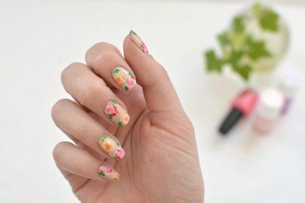 весенний цветочный маникюр 2018 розы