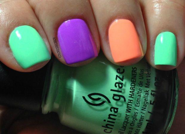 цветной яркий маникюр короткие ногти фото новинки гель лак