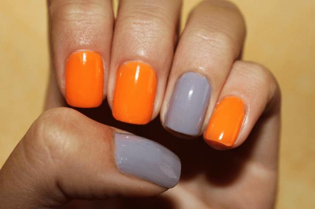 яркий маникюр 2018 серый с оранжевым фото новинки гель лак