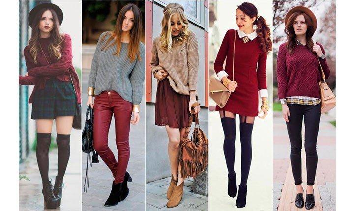 кофта, платья, брюки цвета марсала