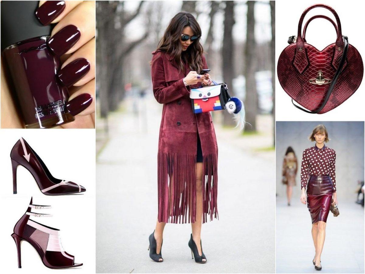 пальто, юбка, сумка цвета марсала