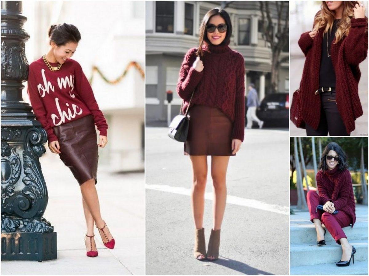 Кофта, кардиган, свитер цвета марсала