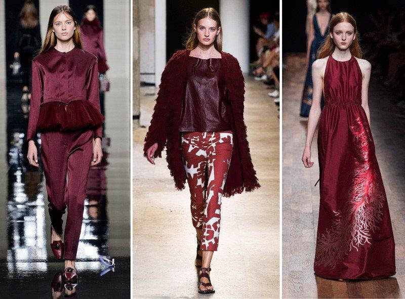 платья, кардиган и брюки цветом марсала