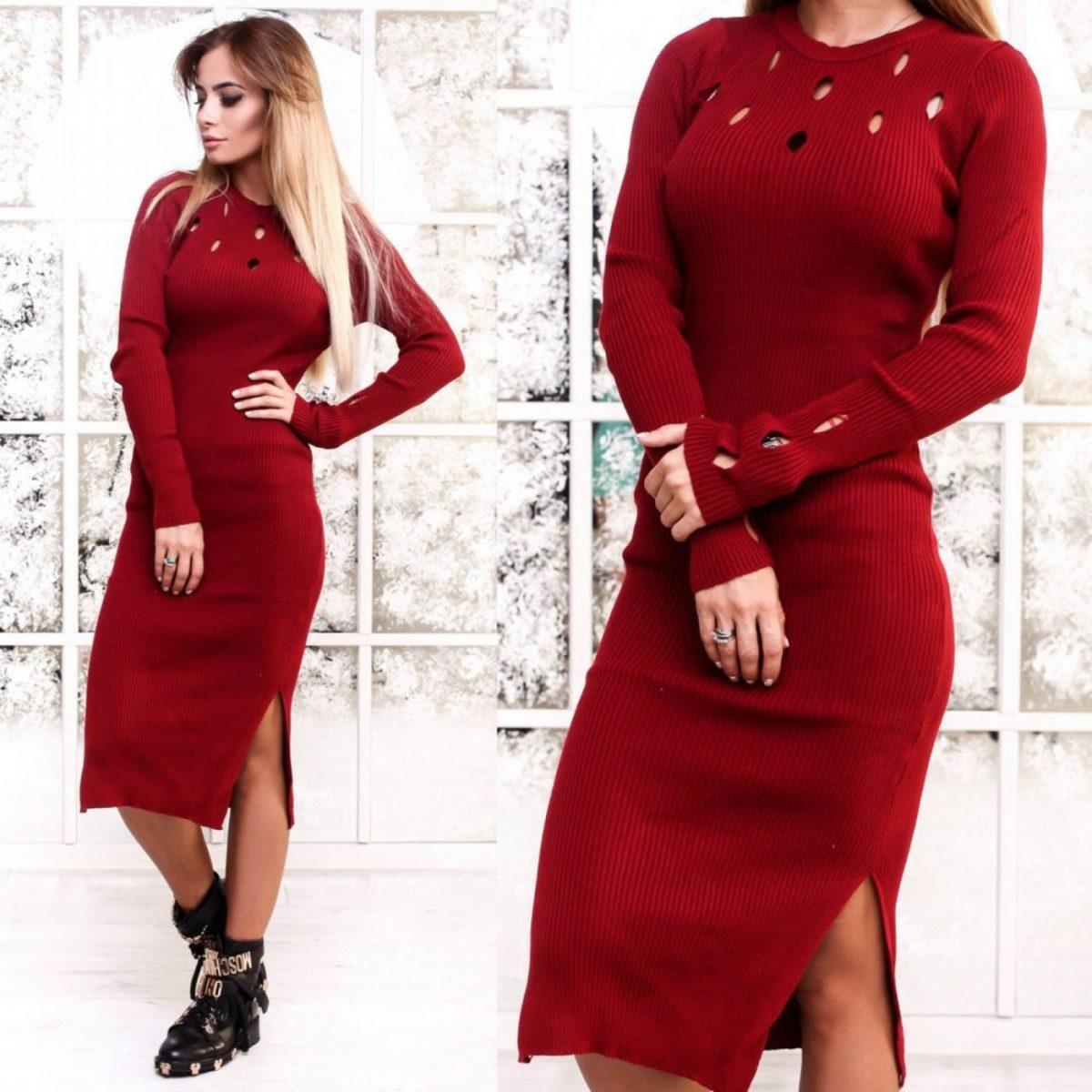 платье с разрезом цветом марсала