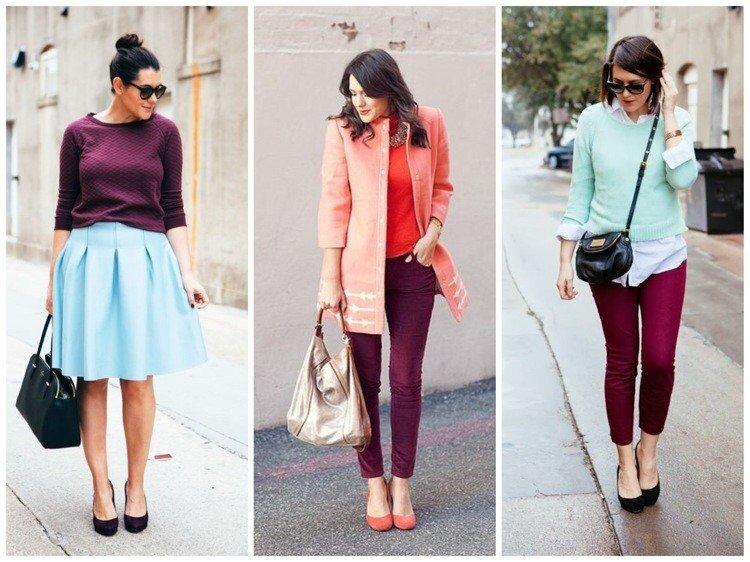 голубая юбка со свитером цветом марсала, брюки с оранжевым кардиганом