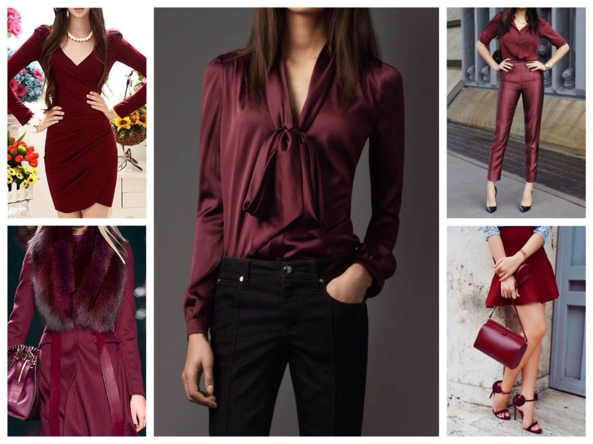 платья, рубашки цветом марсала