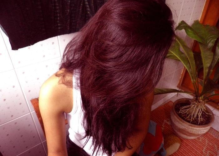 крашеные волосы в цвет марсала