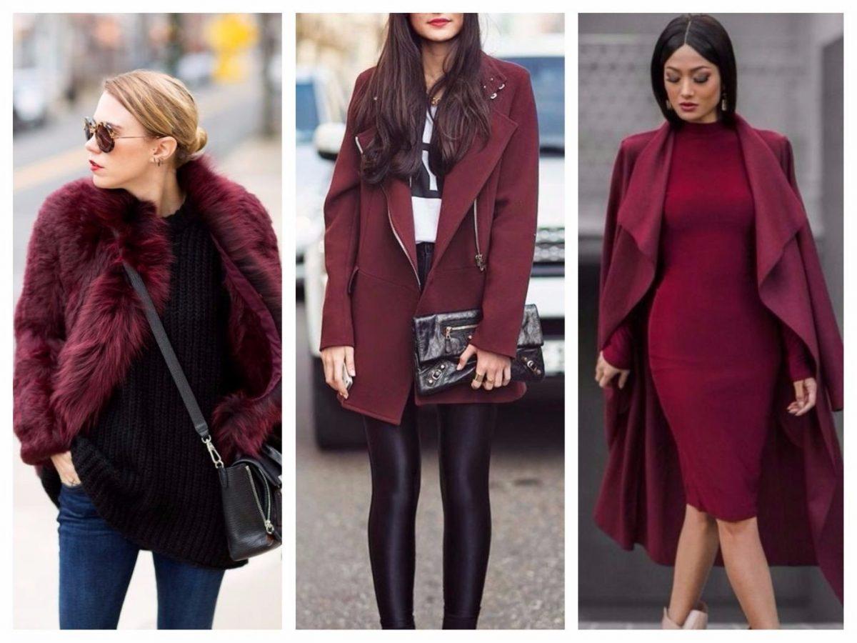 пальто и платья цветом марсала