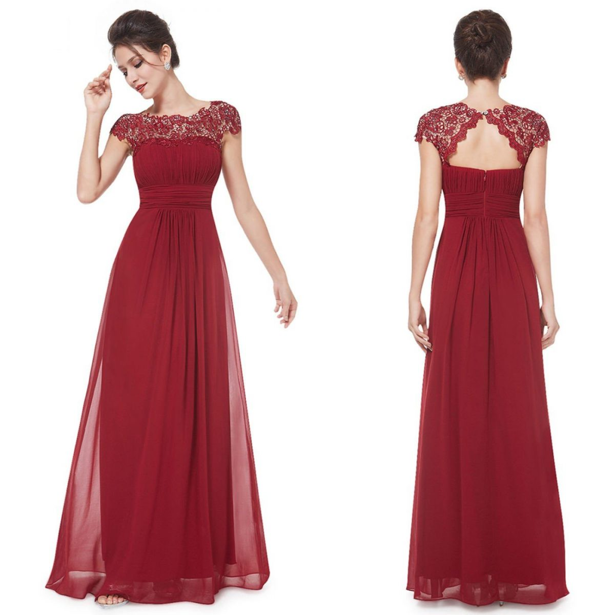 платье цветом марсала с кружевным верхом