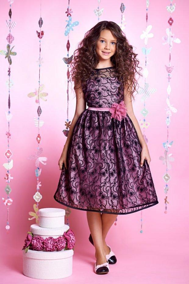 детское фиолетовое платье с поясом