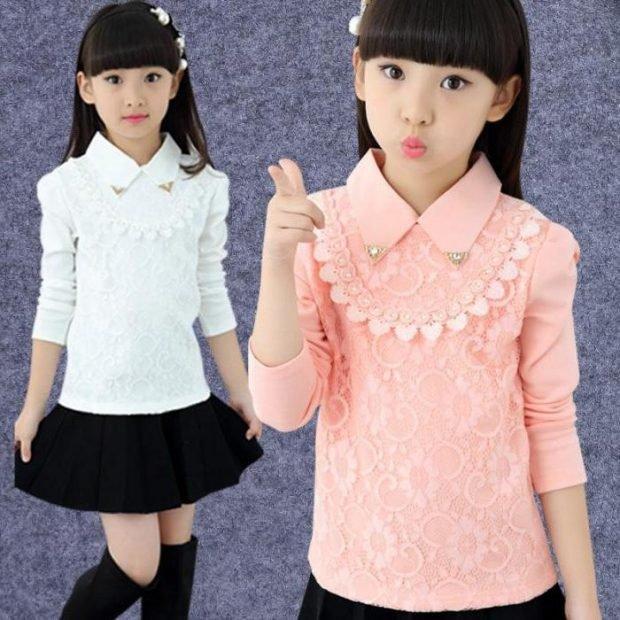 детская блузка белого и розового цвета