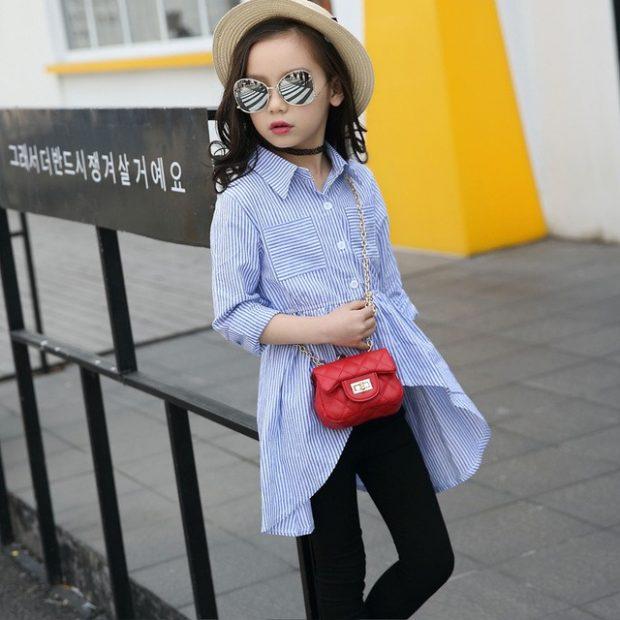 детская блузка голубого цвета