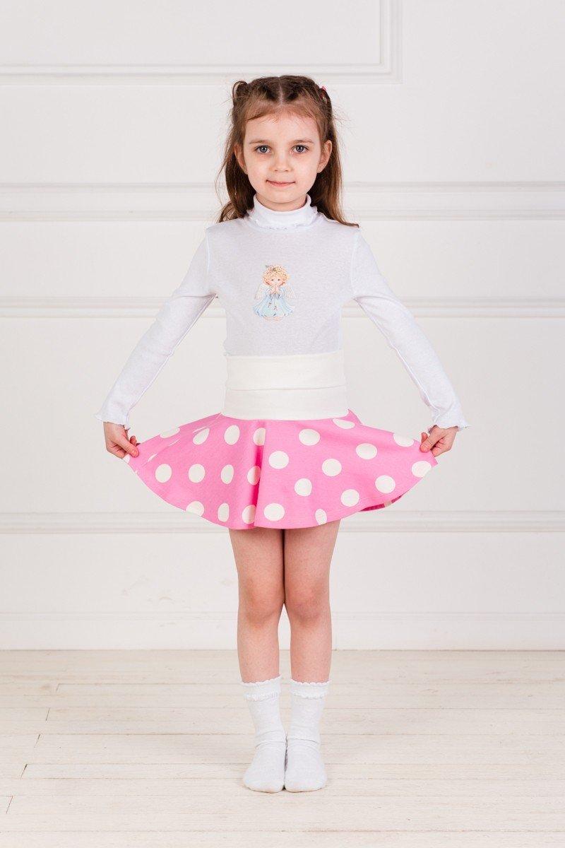 детская юбка розового цвета в горошек