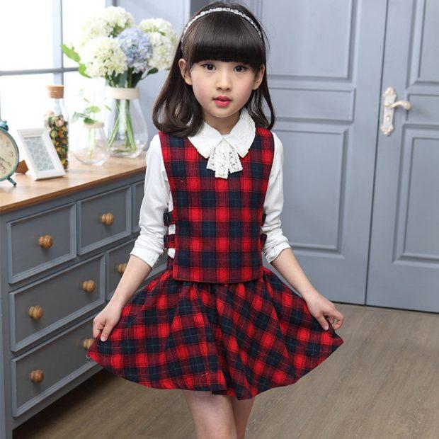детская юбка черная в красный квадратик