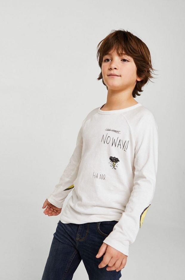 детский лонгслив белого цвета с надписью