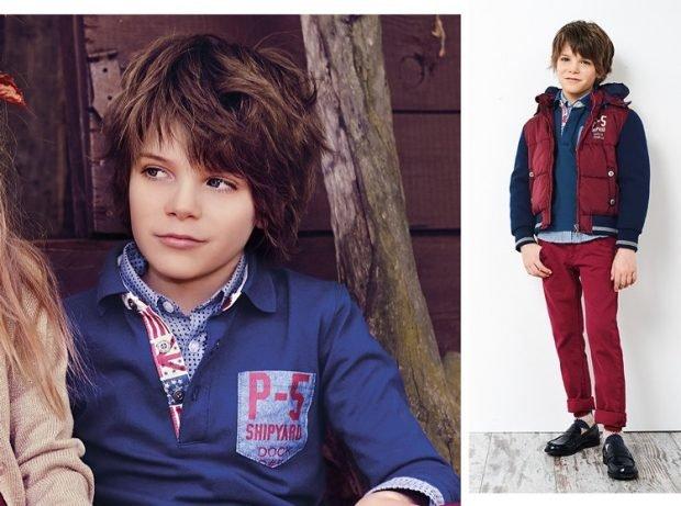 рубашка синего цвета, бордовые брюки бордовый желет