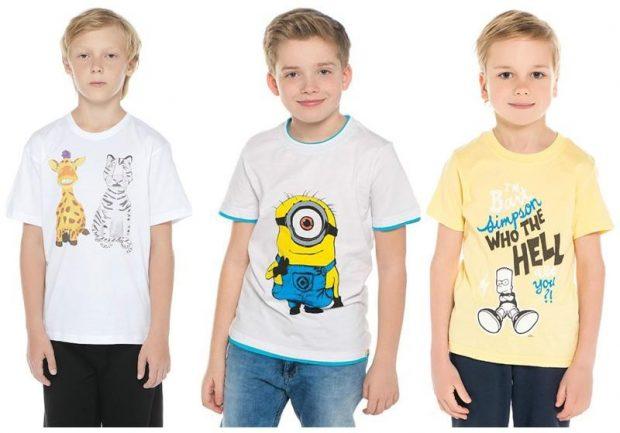 белая футболка в принт, желтая футболка в принт