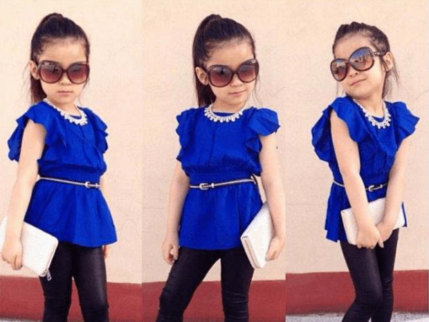 Детская мода 2019 2020: синяя туника с поясом