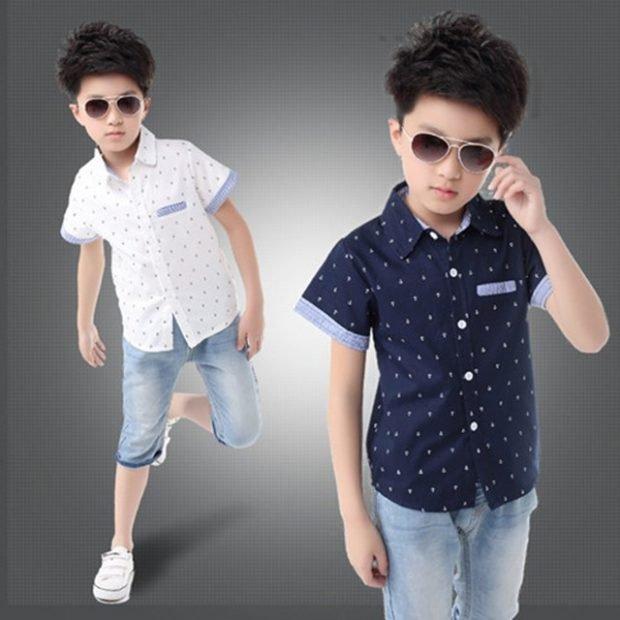 детская белая и черная рубашка в горошек с коротким рукавом