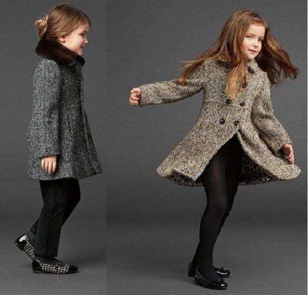 детское пальто на осень с пуговицами