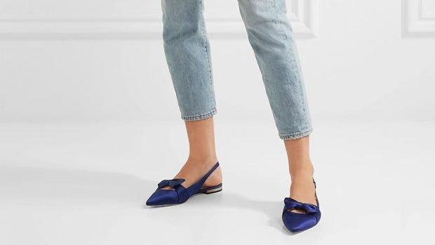 туфли с открытой пяткой синие на низком ходу