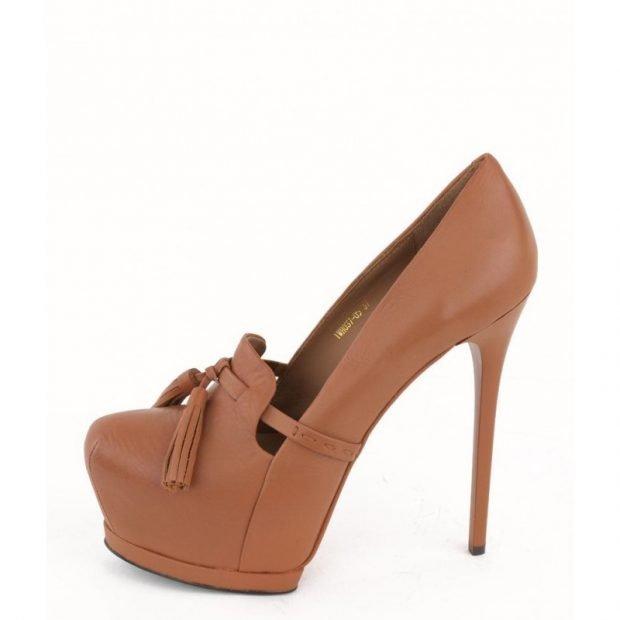 Туфли женские весна лето 2019: на высоком каблуке коричневые кожаные