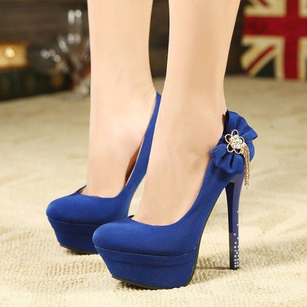 Туфли женские весна лето 2019: на высоком каблуке синие с бантом