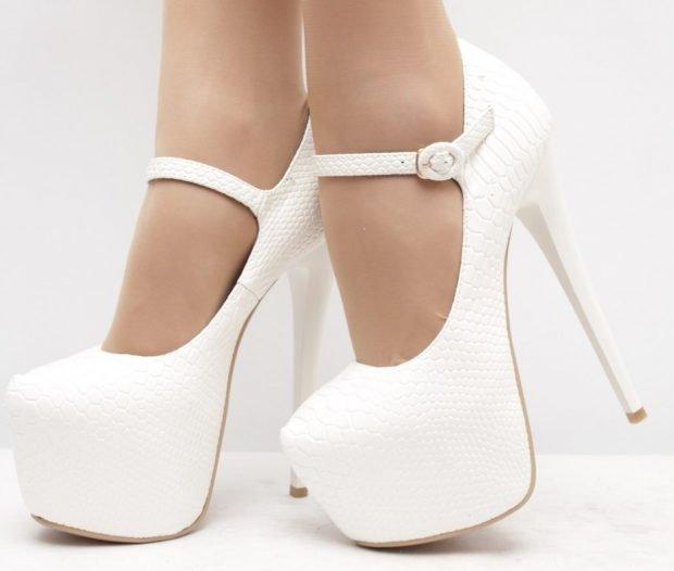 Туфли женские весна лето: на высоком каблуке белые на застежке