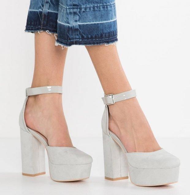 Туфли женские весна лето 2019: серые на толстом каблуке