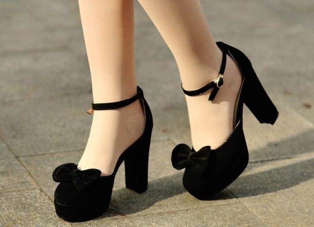 Туфли женские весна лето: на среднем каблуке черные с бантом замша