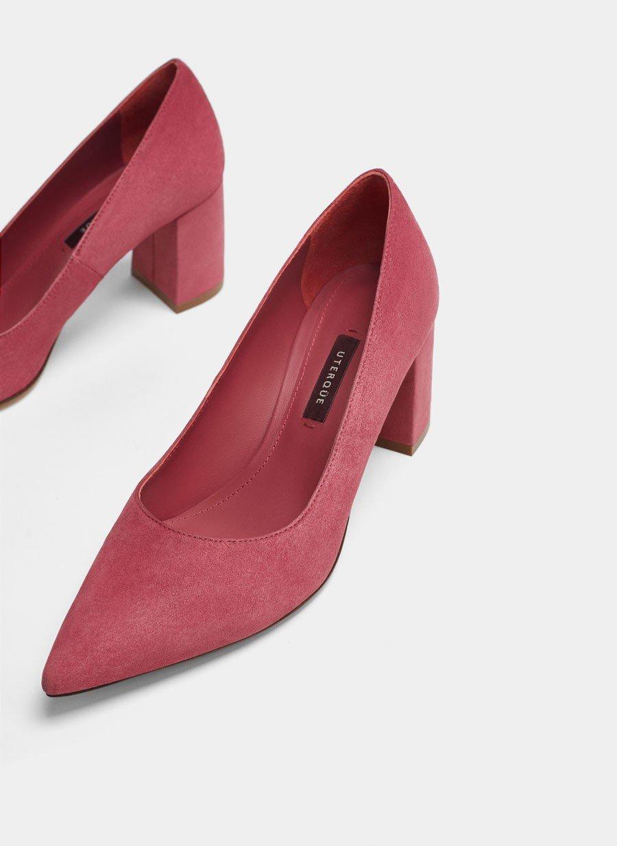 туфли на среднем толстом каблуке малиновые с острым носком