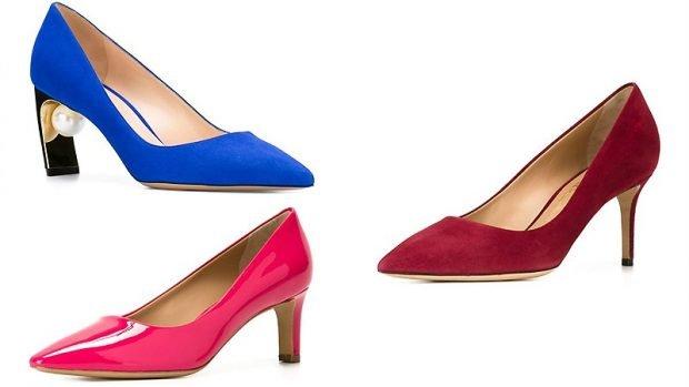 Туфли женские весна лето: на среднем каблуке синие розовые бордовые с острыми носками