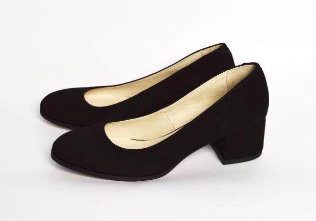 туфли на низком каблуке черные круглый носок замша