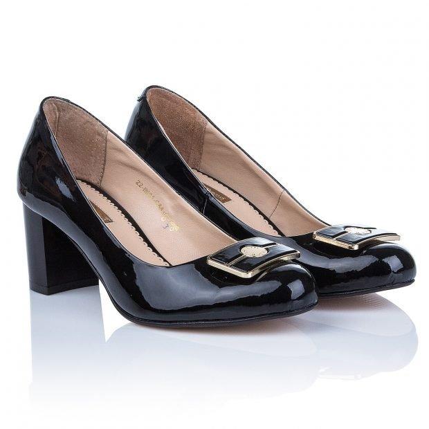 туфли на низком каблуке черные кожаные с бантиком
