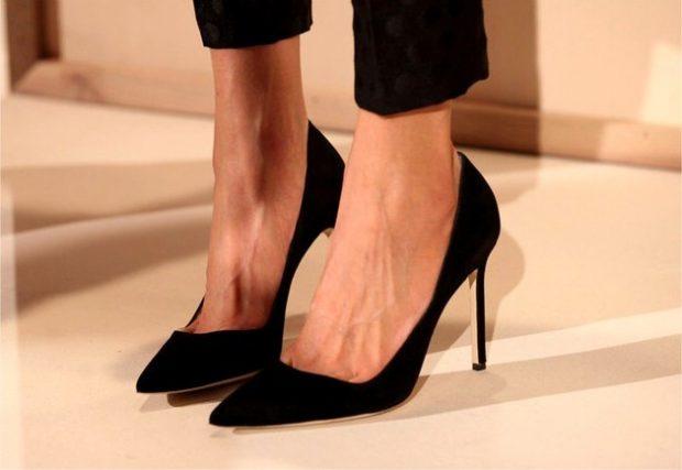 туфли лодочки черные замша