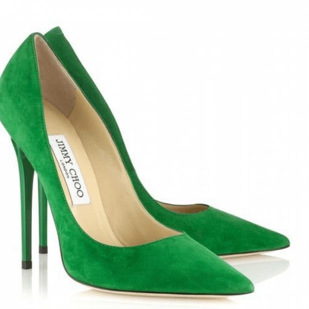 туфли замшевые зеленые на шпильке лодочки