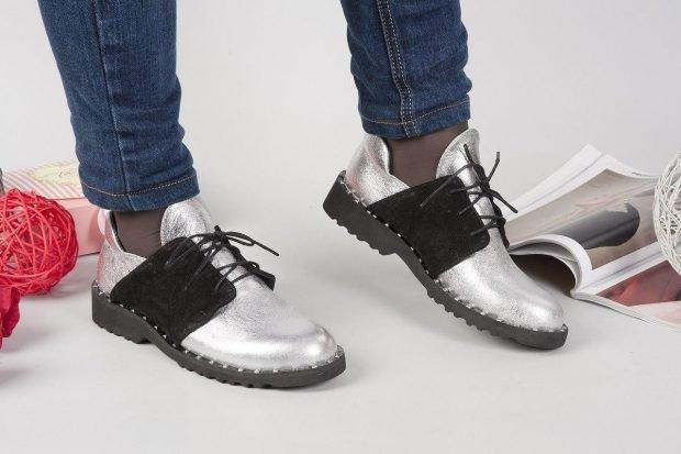 Туфли женские весна лето: кожаные на низком ходу серебристые