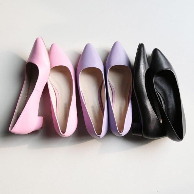Туфли женские весна лето: кожаные лодочки на маленьком каблуке розовые цвет лаванды черные