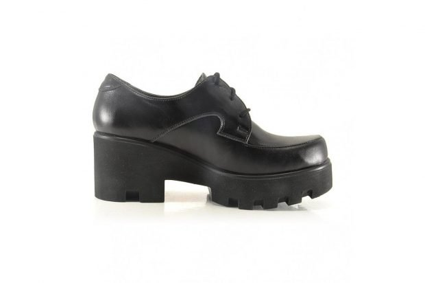 кожаные туфли на толстом каблуке черные