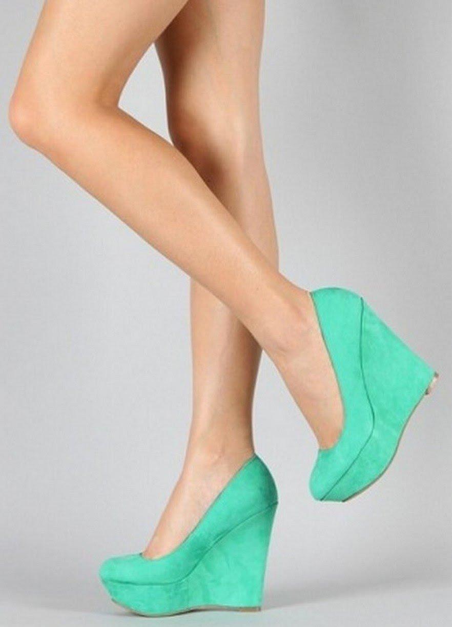 туфли на танкетке бирюзовые замша
