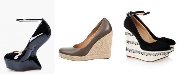 туфли на танкетке черные коричневые черные с белым