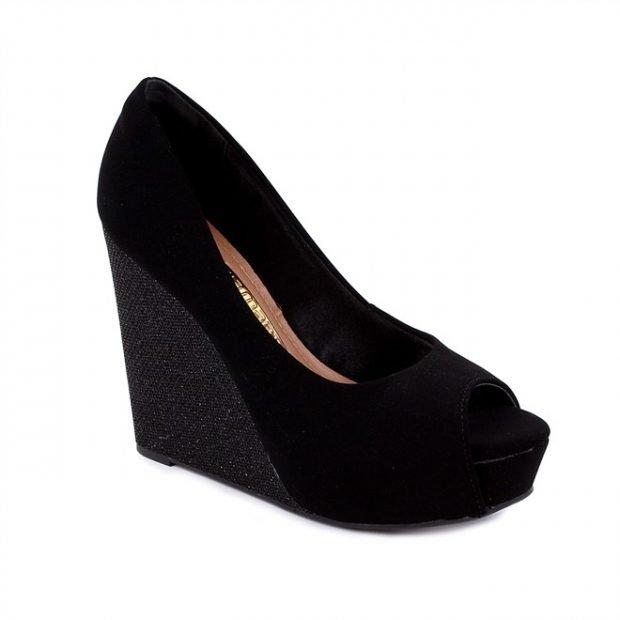 туфли на танкетке черные замша с открытым носком