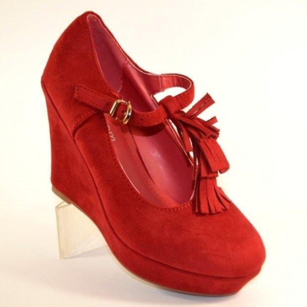 туфли на танкетке красные замша