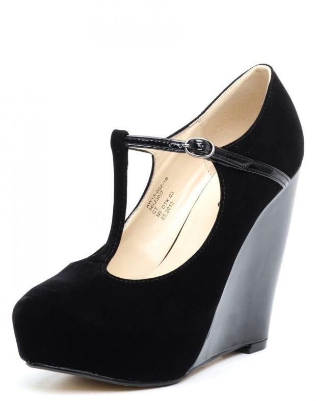 туфли с застежкой черные на танкетке